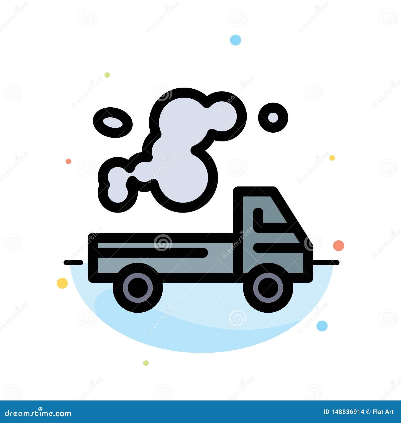 Auto, Vrachtwagen, Emissie, Gas, het Pictogrammalplaatje van de Verontreinigings Abstract Vlak Kleur