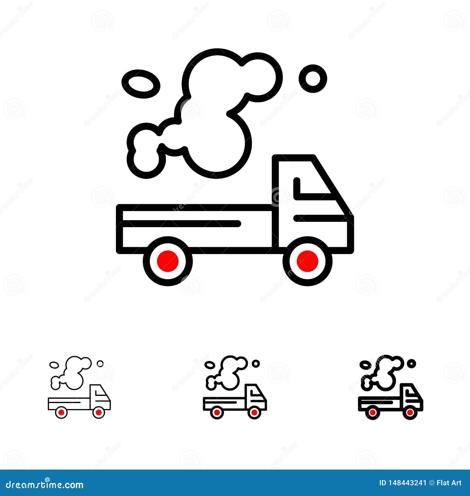 Auto, Vrachtwagen, Emissie, Gas, het pictogramreeks van de Verontreinigings Gewaagde en dunne zwarte lijn