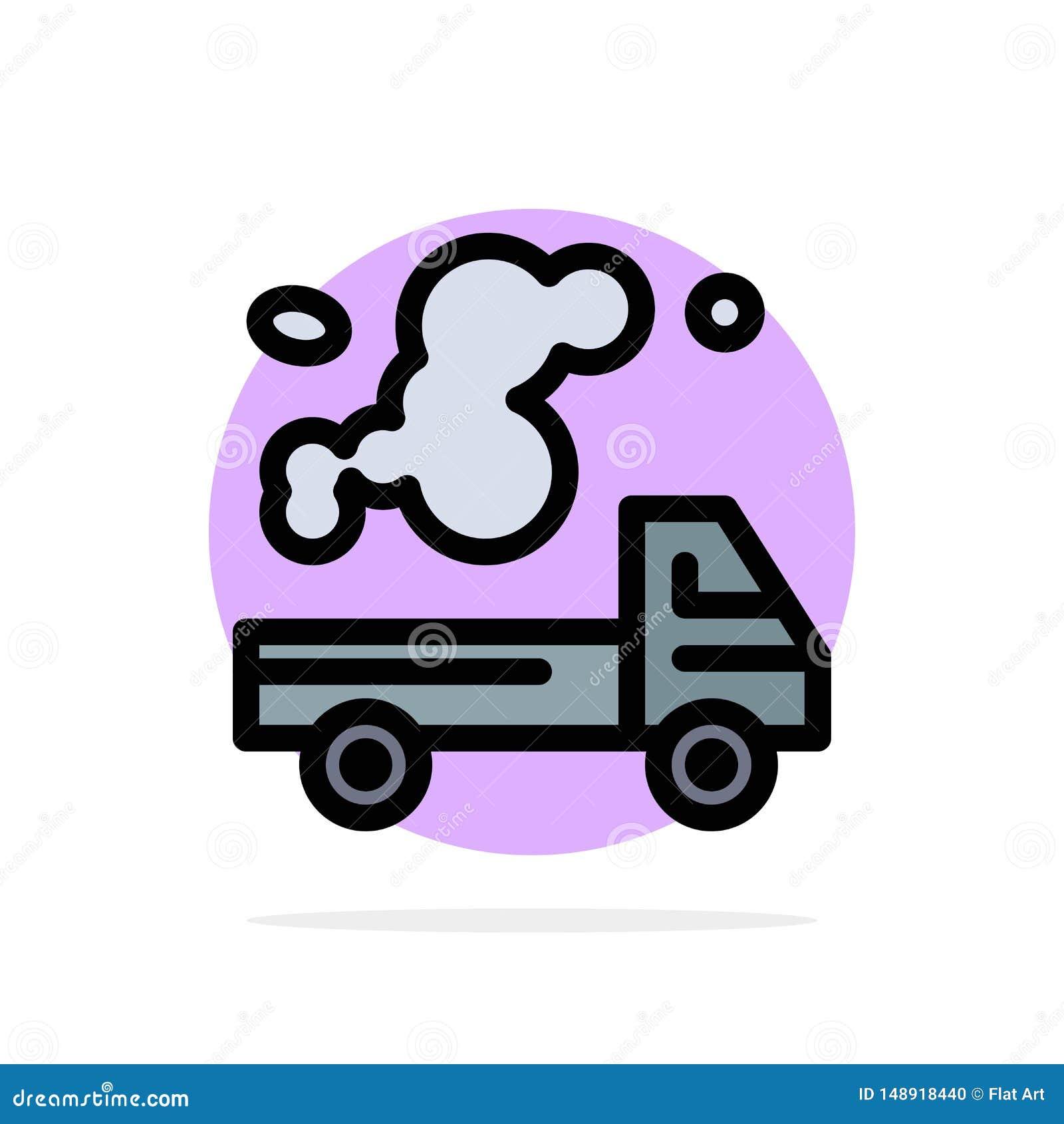 Auto, Vrachtwagen, Emissie, Gas, van de Achtergrond verontreinigings Abstract Cirkel Vlak kleurenpictogram