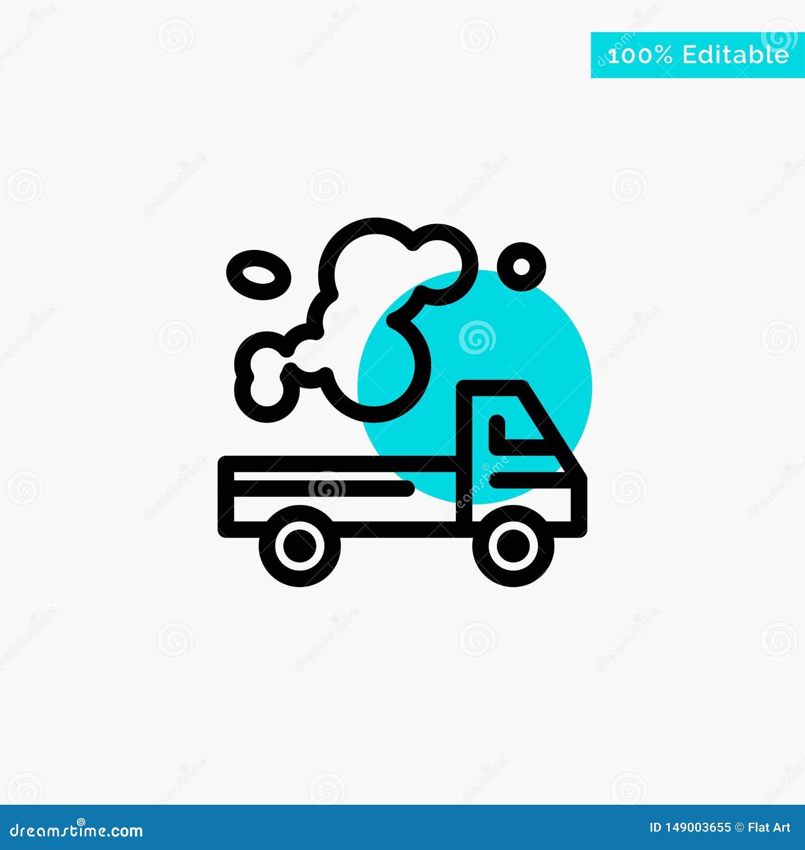 Auto, Vrachtwagen, Emissie, Gas, van het de cirkelpunt van het Verontreinigings het turkooise hoogtepunt Vectorpictogram