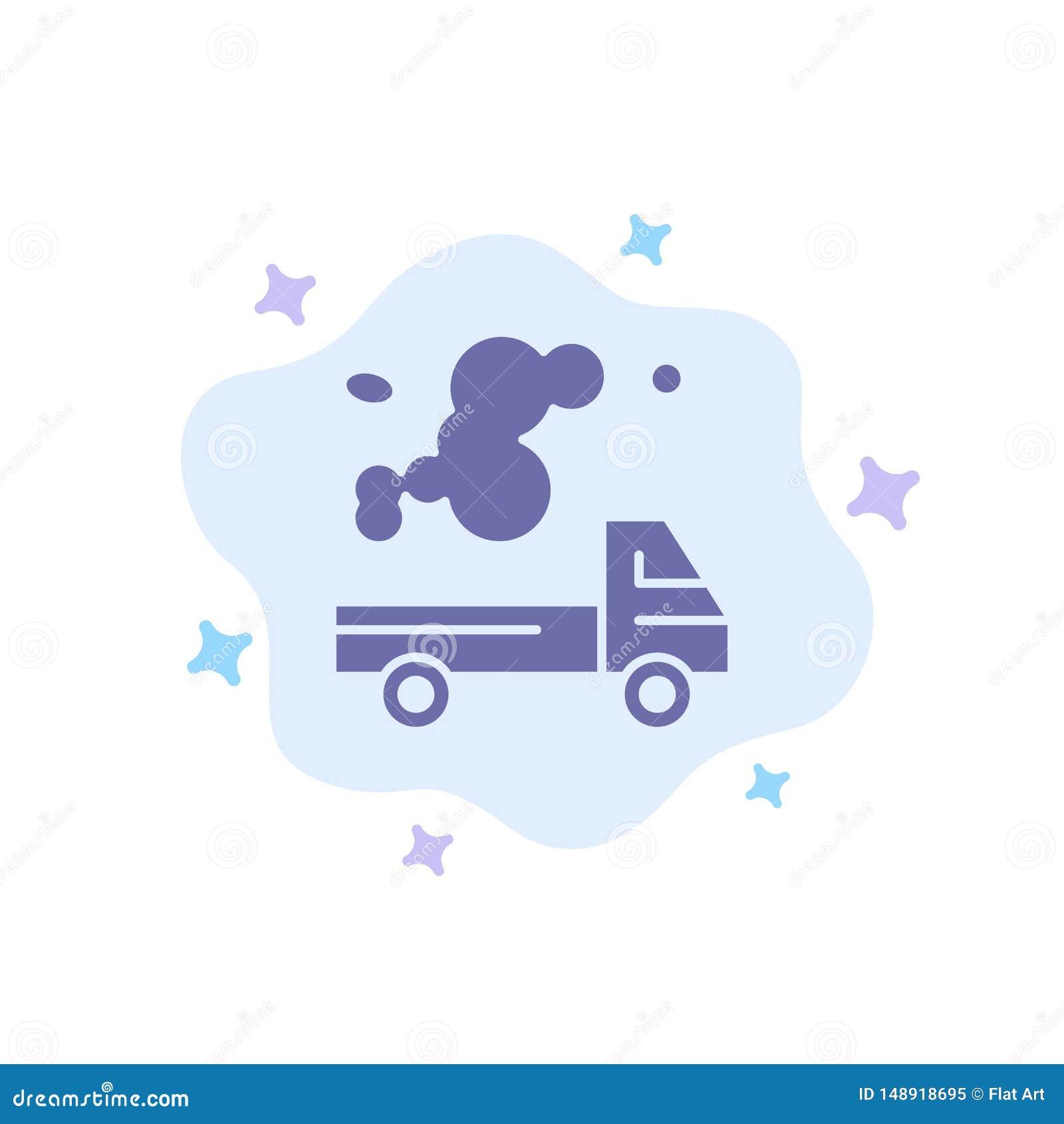 Auto, Vrachtwagen, Emissie, Gas, Verontreinigings Blauw Pictogram op Abstracte Wolkenachtergrond