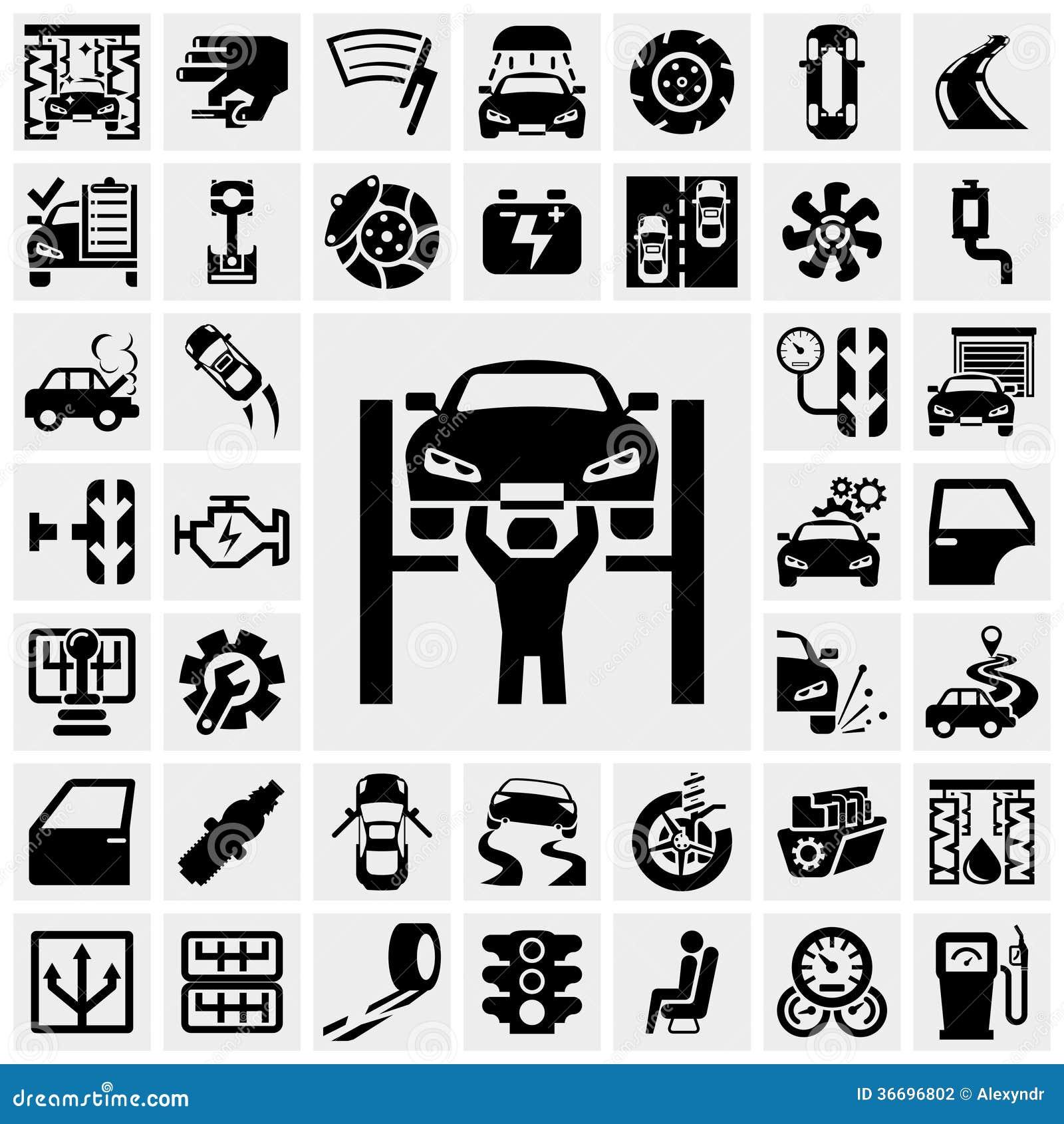 Auto wektorowe ikony ustawiać na szarość