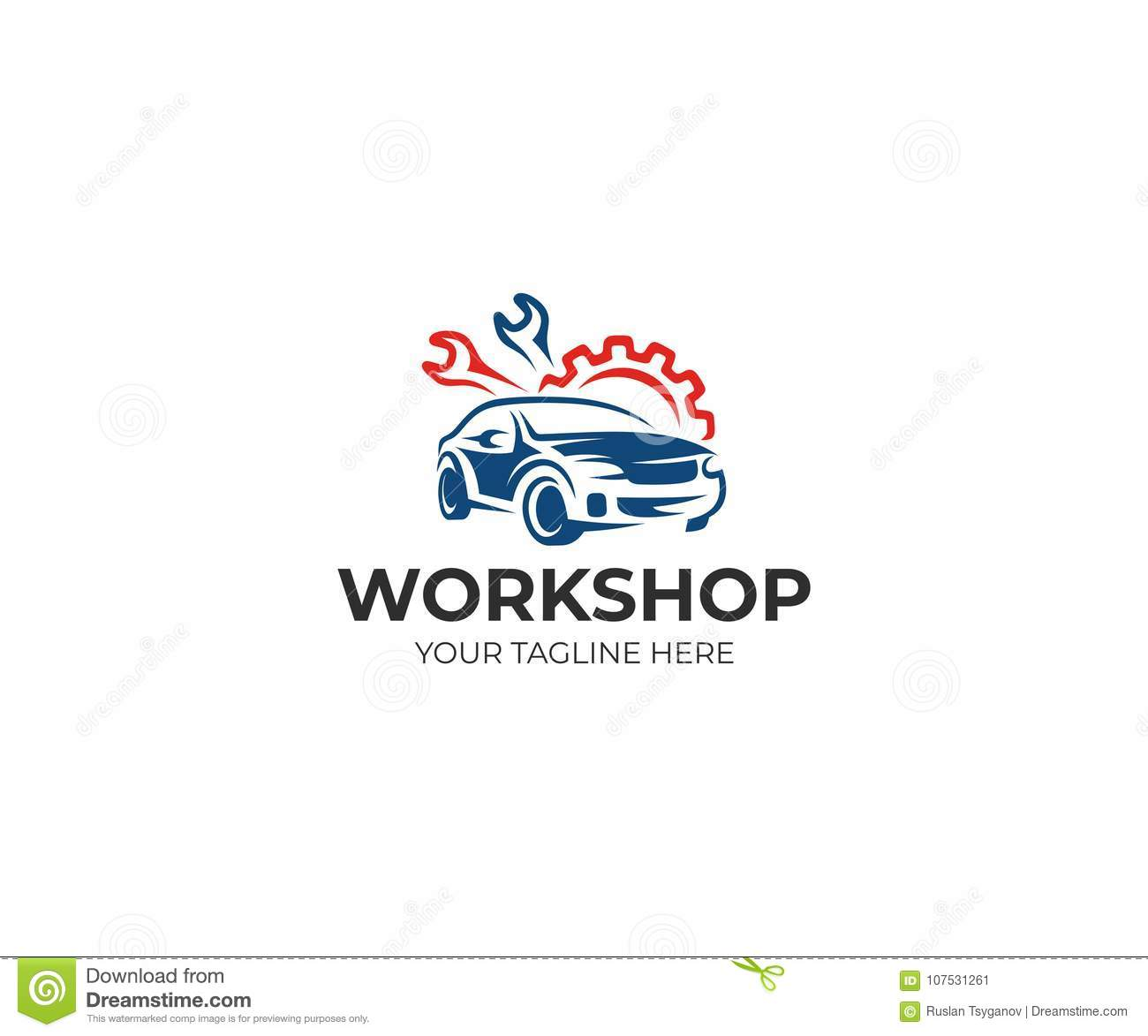 Auto Workshop Logo Template Auto Service Vector Design Stock Vector