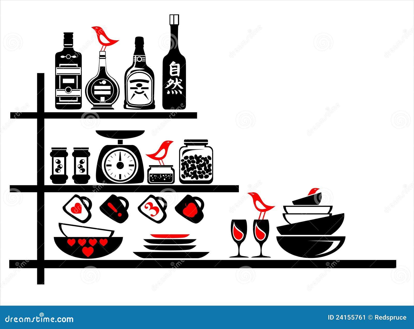 Autoadesivi della parete neri e mensole rosse della cucina for Mensole nere
