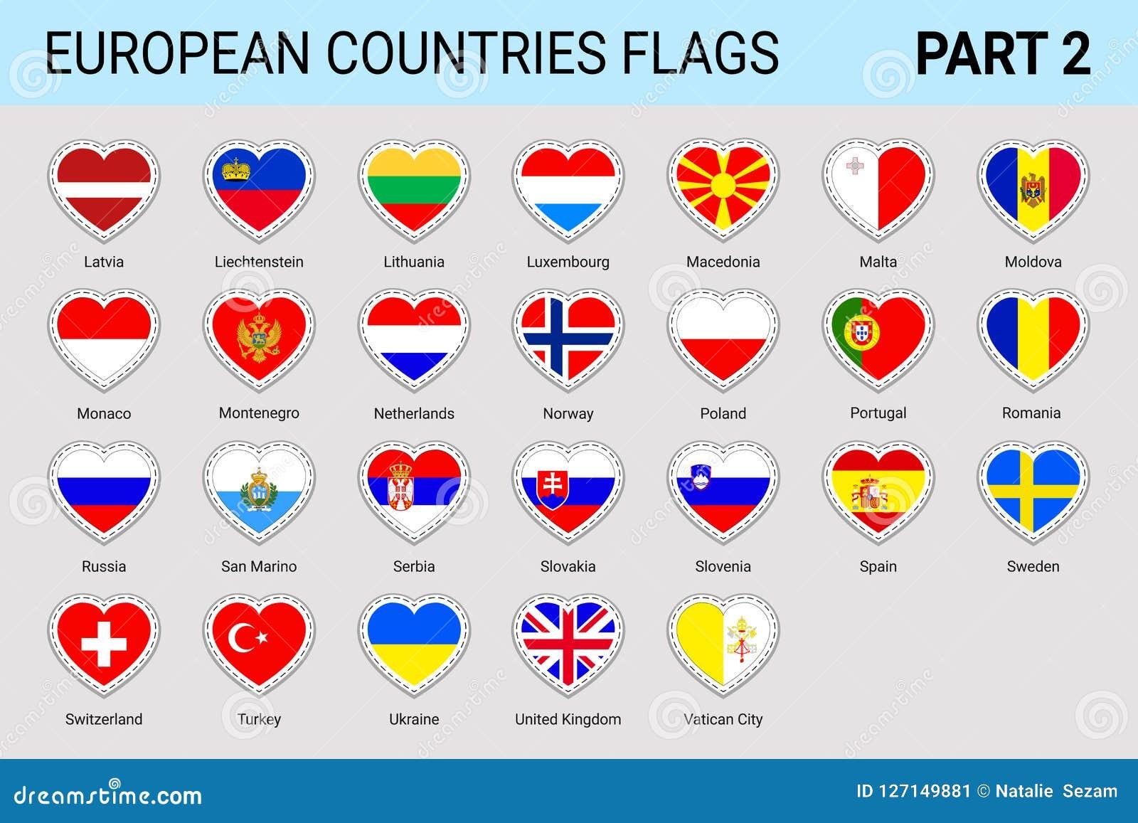 Autoadesivi delle bandiere dell europeo messi L europeo di vettore inbandiera la raccolta Simboli nazionali con il nome di paese