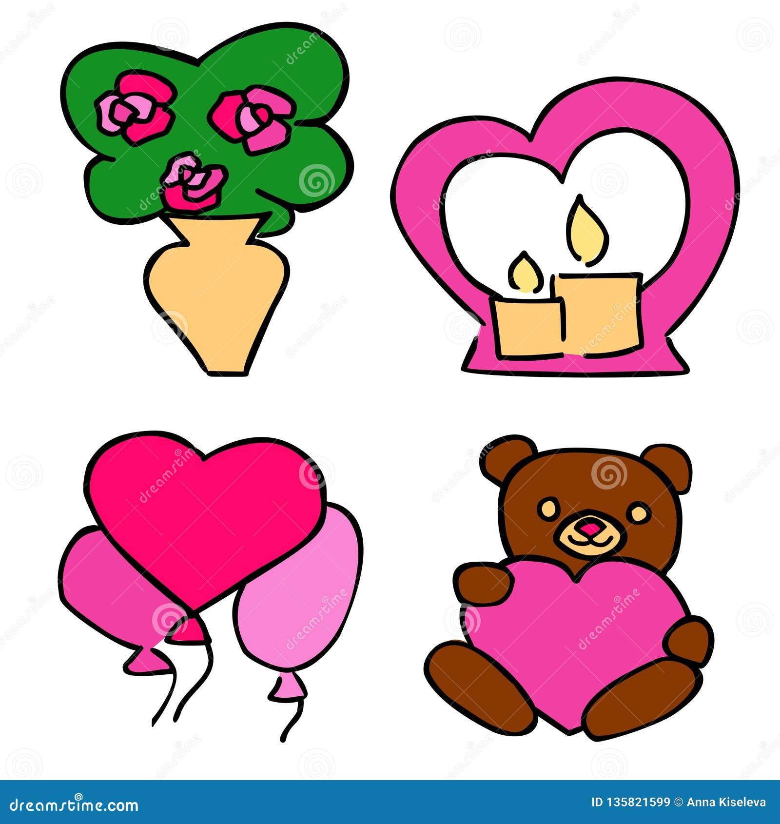 Autoadesivi romantici svegli messi per la datazione di San Valentino