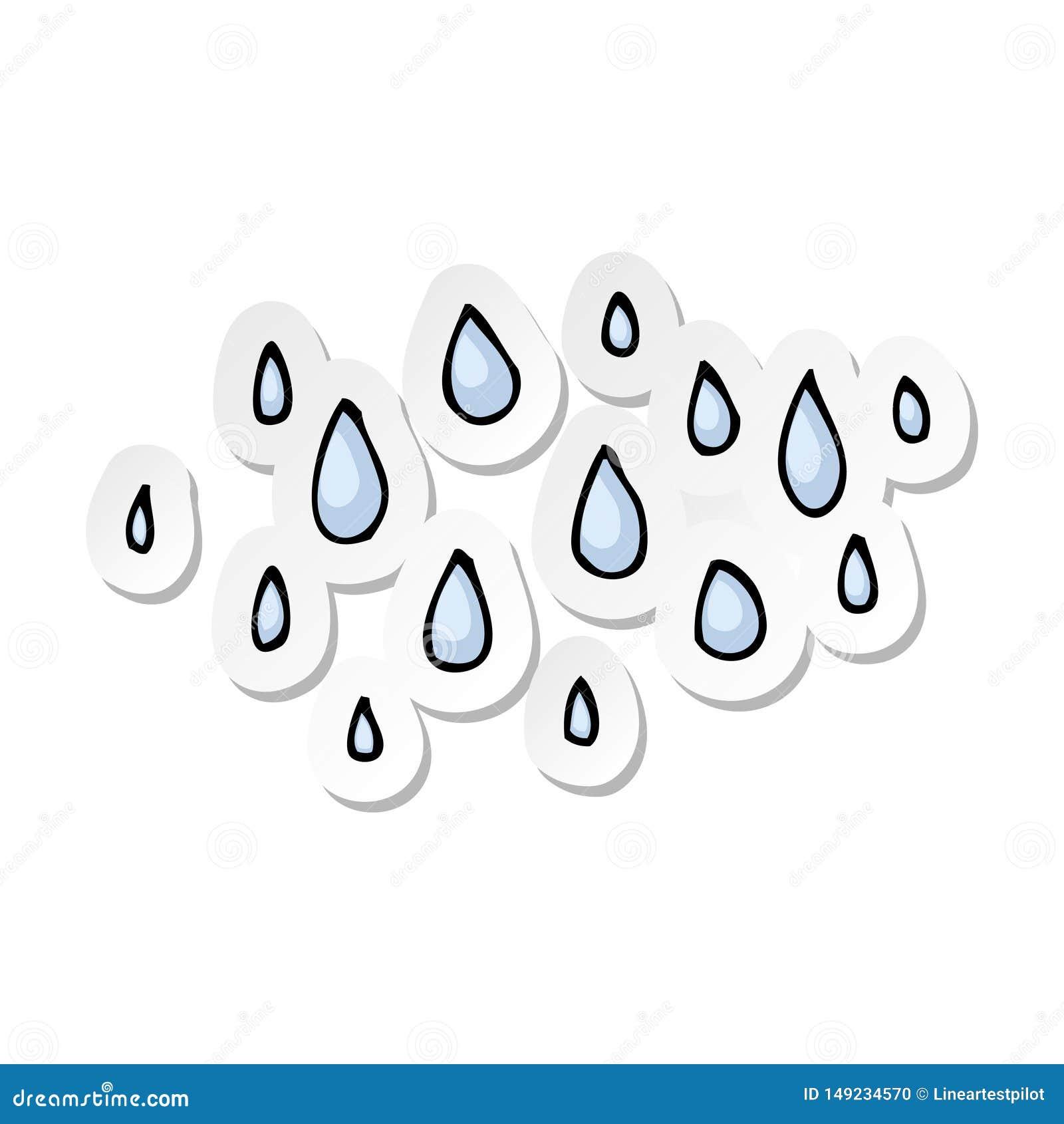 Autoadesivo delle gocce di pioggia di un fumetto