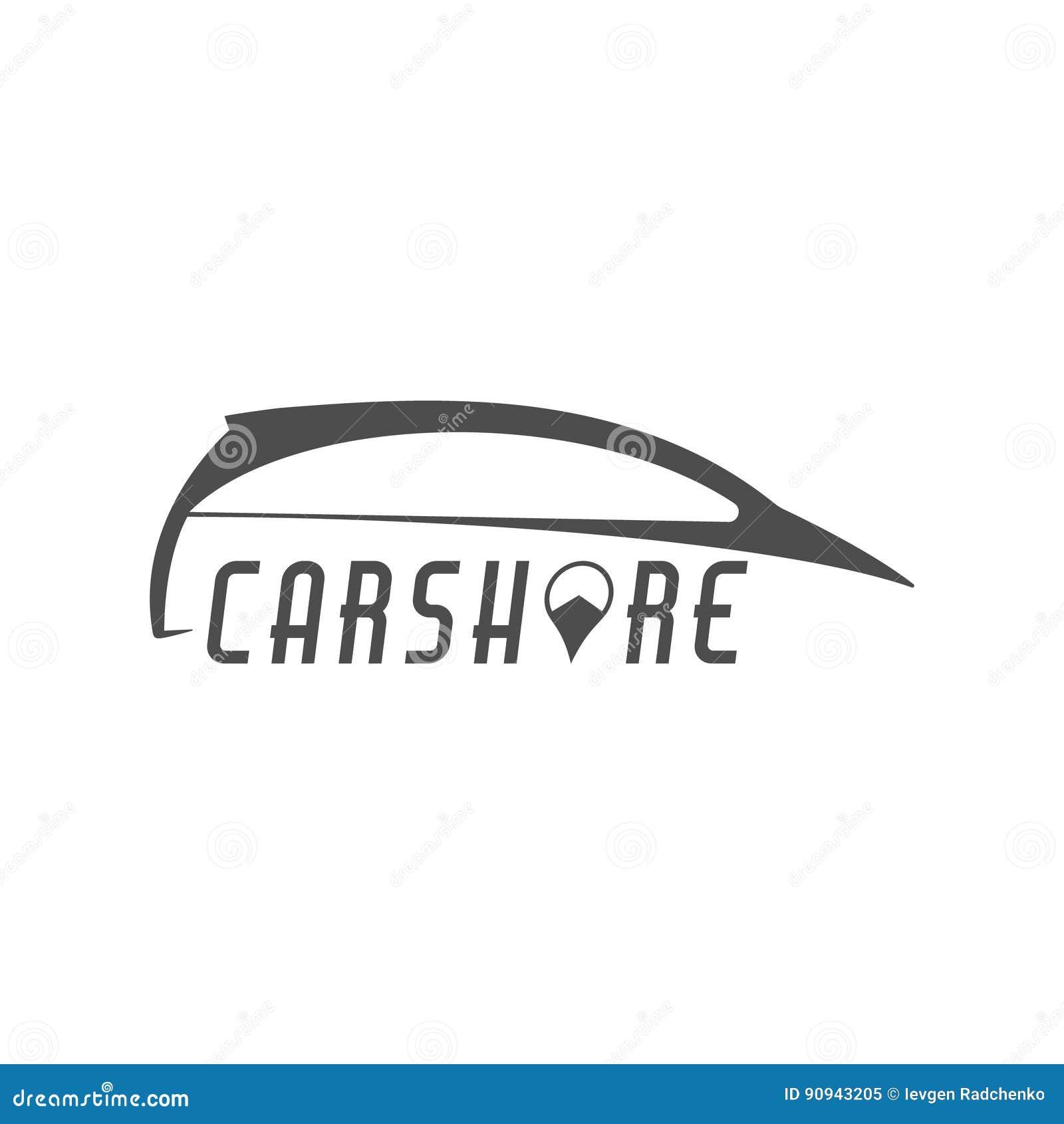Autoanteil-Logodesign Carsharing- Konzept Kollektivverwendung von Autos über Web-Anwendung Carsharing- Ikone, Automiete