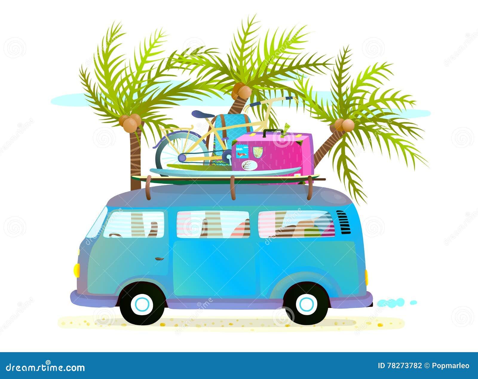 Autobús del viaje del verano del día de fiesta para las vacaciones tropicales de la playa con equipaje