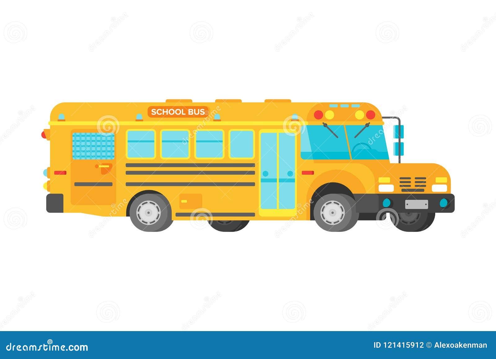 Autobús escolar amarillo del vector en estilo plano