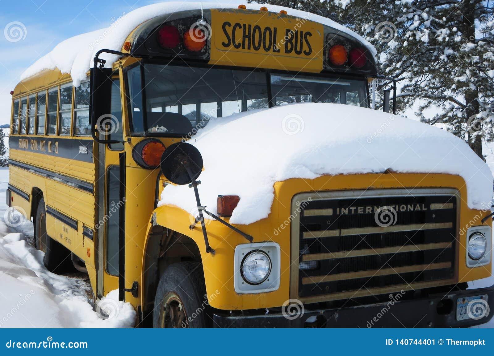 Autobús escolar cubierto en nieve