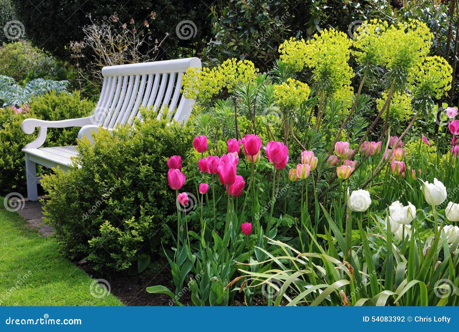 Autobank in een Engelse tuin in de vroege zomer