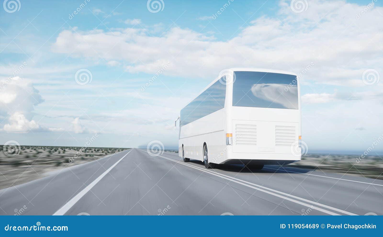 Autobus blanc de touristes sur la route, route Entraînement très rapide Concept touristique et de voyage rendu 3d