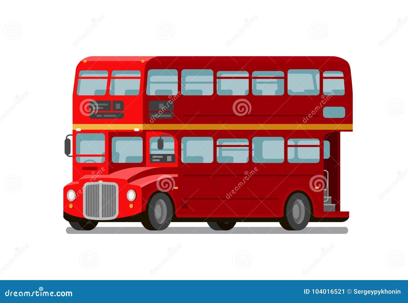 autobus de rouge d 39 autobus imp riale de londres symbole de l 39 angleterre illustration plate de. Black Bedroom Furniture Sets. Home Design Ideas