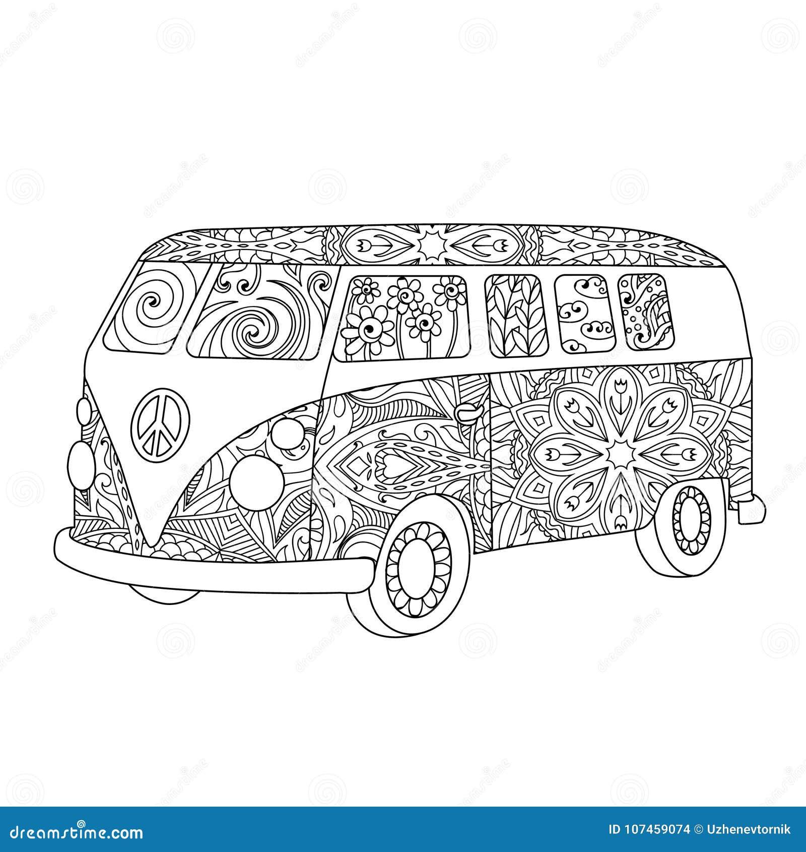Coloriage Adulte Vintage.Autobus Hippie De Vintage Pour L Adulte Ou Le Livre De Coloriage D