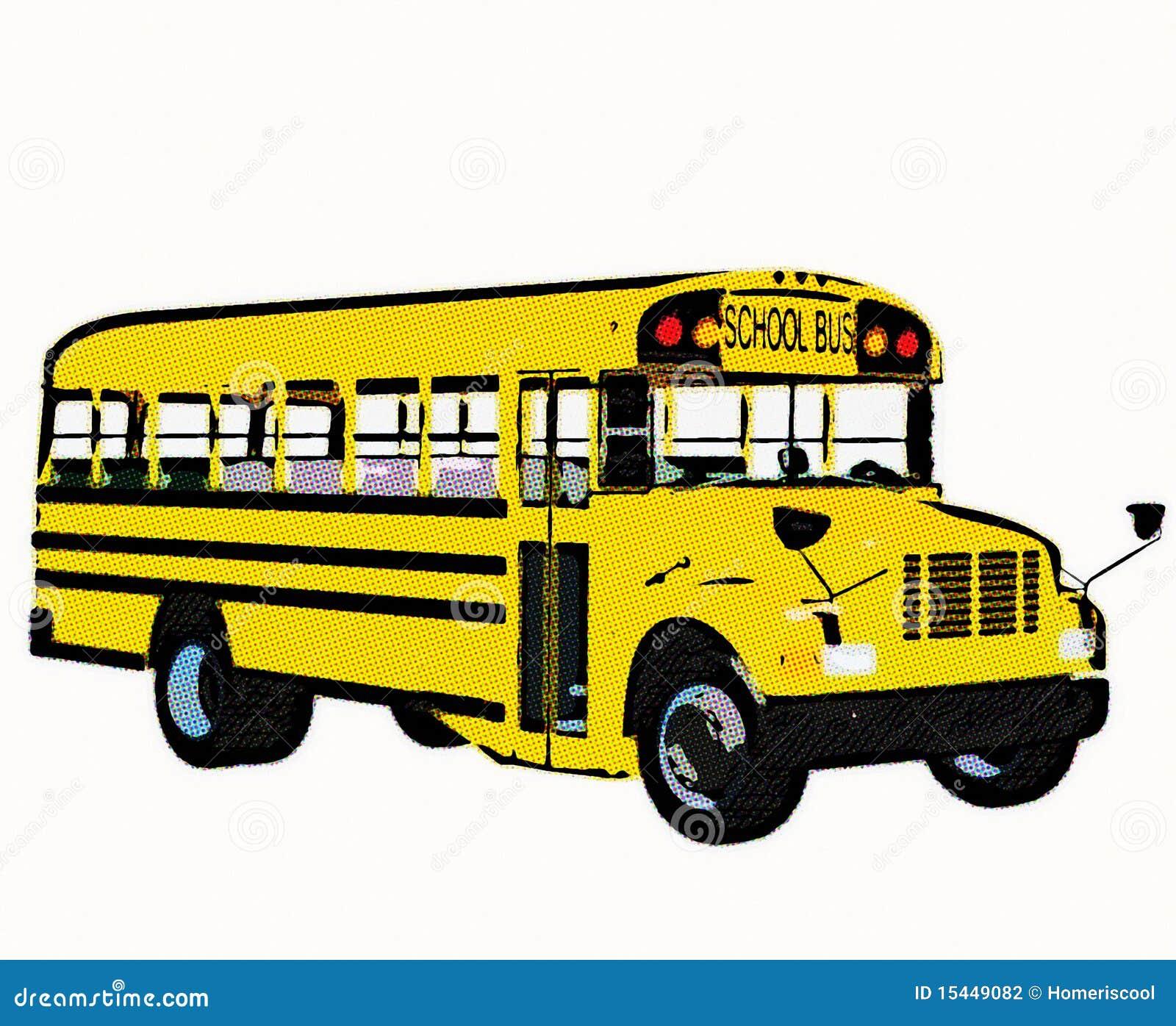Autobus Scolaire Américain Jaune Illustration Stock