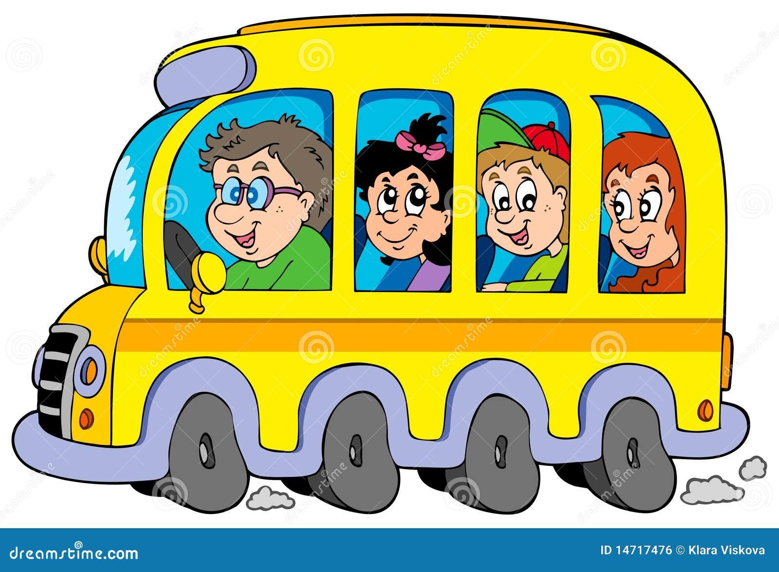 Autobus scolaire de dessin anim avec des gosses image - Autobus scolaire dessin ...