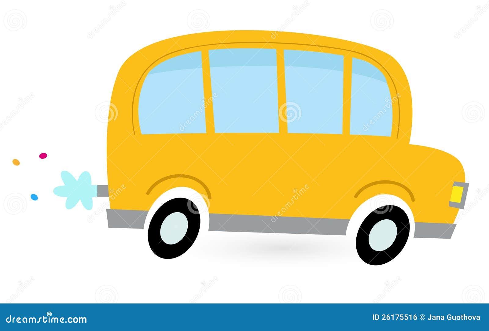 Autobus Scolaire Jaune De Dessin Animé Illustration De