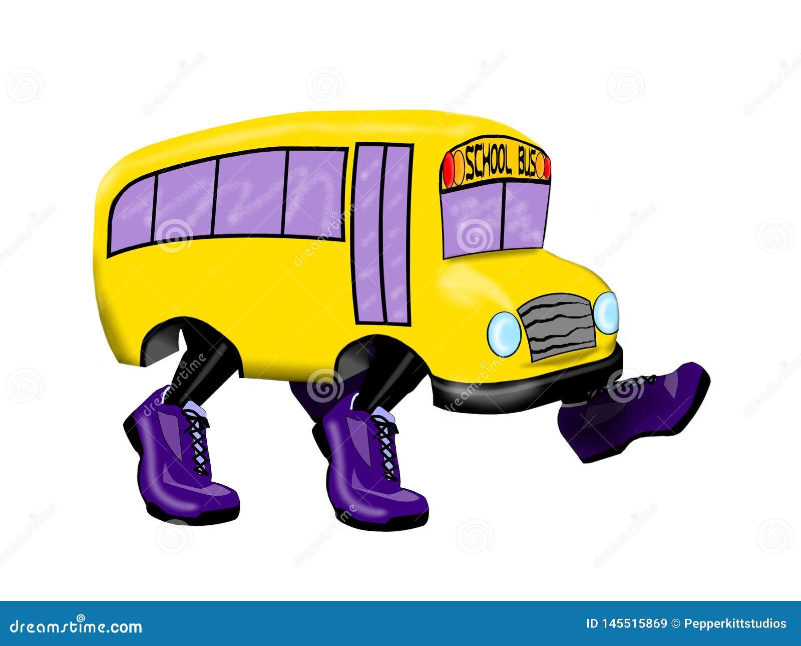 Autobus Szkolny z Purpurowymi Działającymi butami - Odizolowywającymi na Białym tle