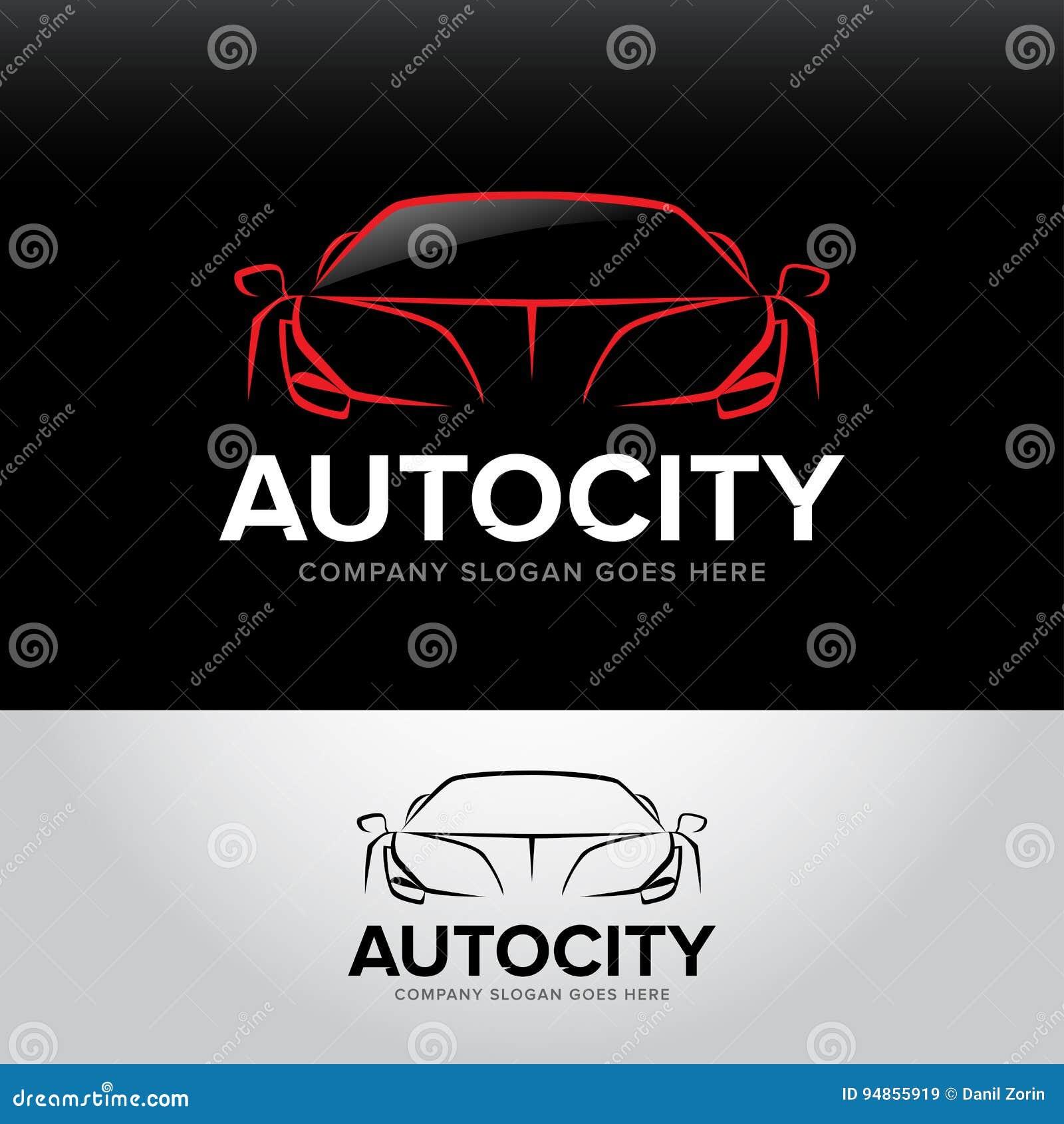 ` Autocity ` samochodowy logotyp - samochód usługa i naprawa, set Samochodowy logo Odosobniony auto tematu logo