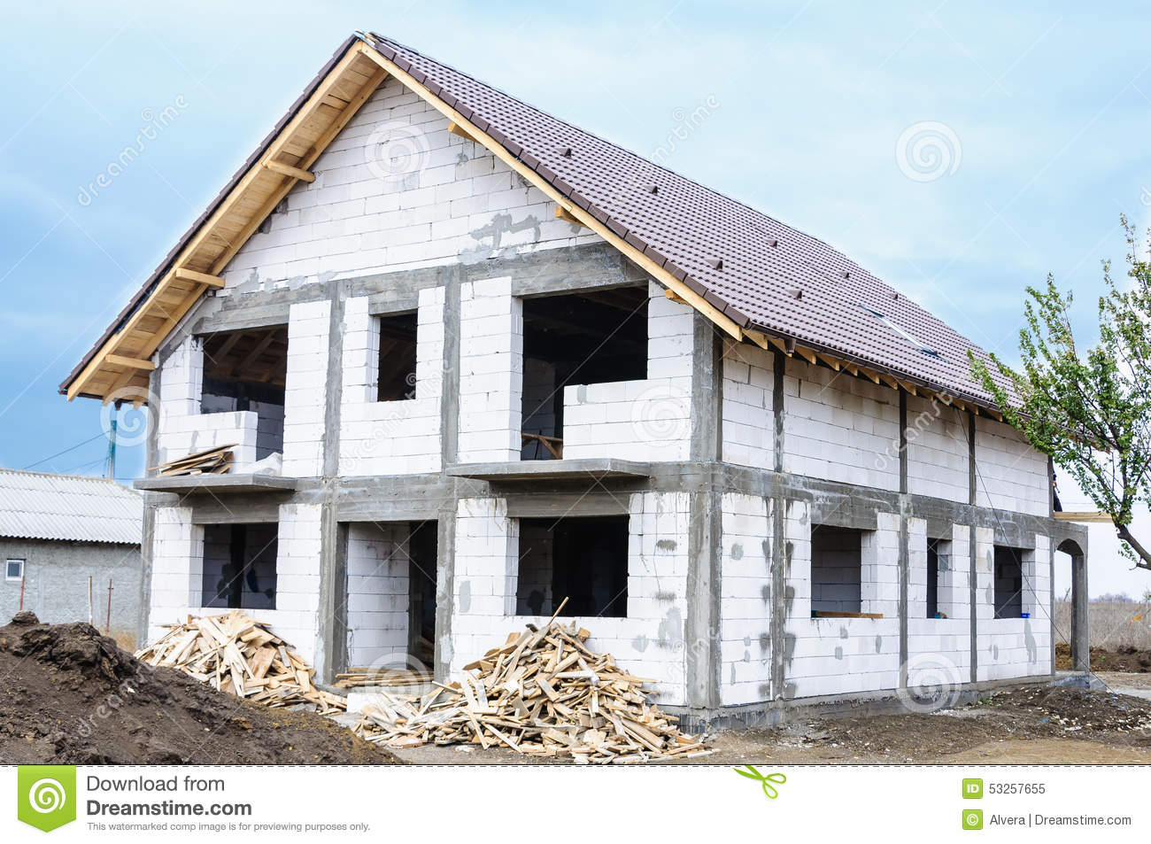 Royalty free stock photo autoclaved aerated concrete for Concrete home construction