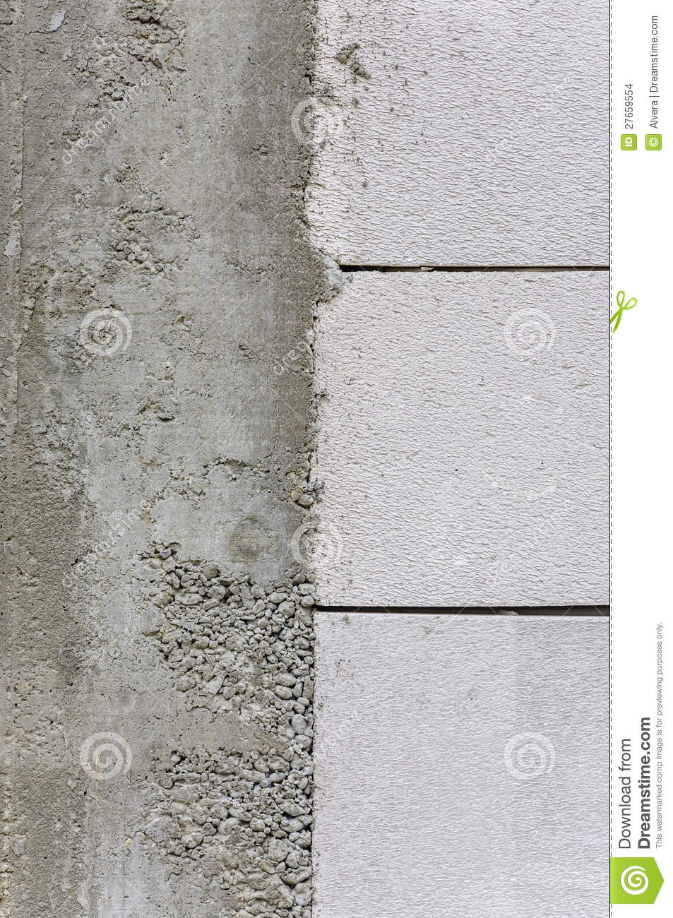 Autoclaved Aerated Concrete Wall Detail Stock Photo