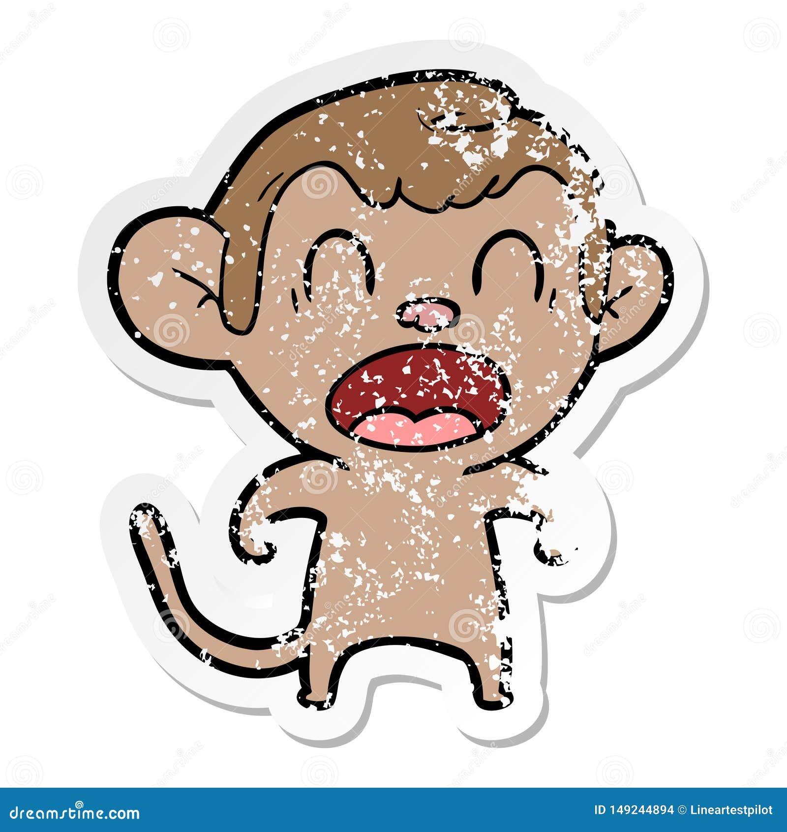 Autocollant afflig? d un singe de cri de bande dessin?e