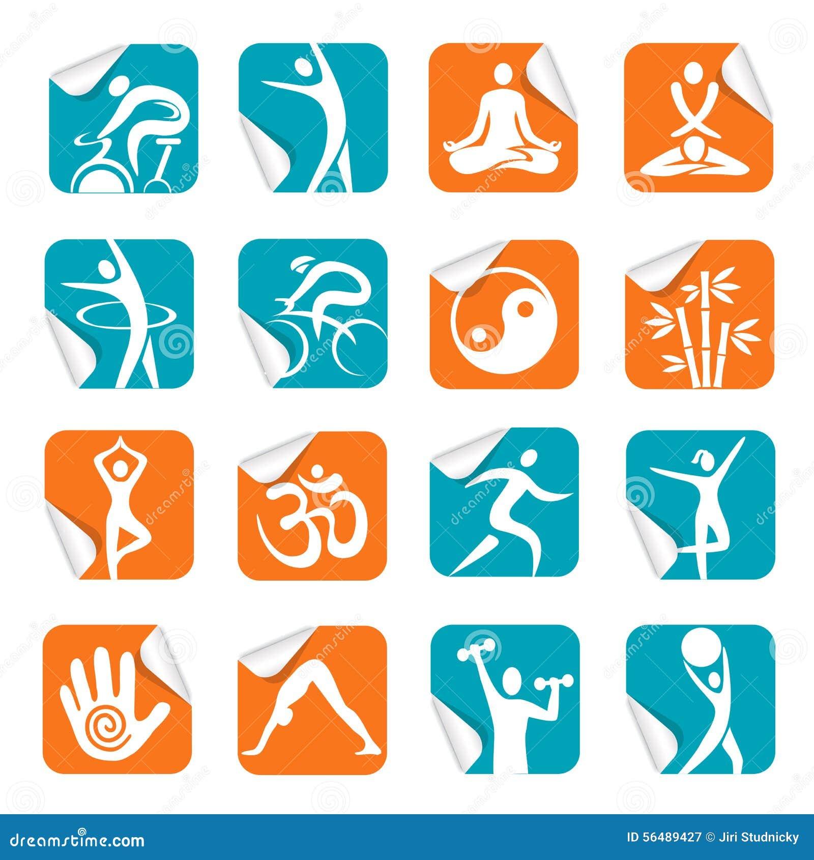Autocollant carré avec des icônes de forme physique de station thermale de yoga