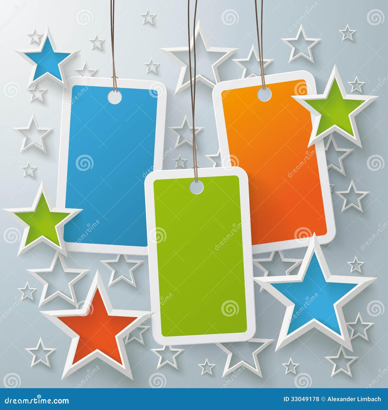 Autocollant coloré par trois des prix avec des étoiles