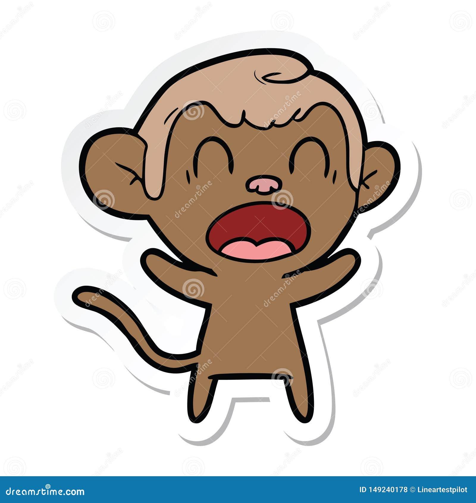 Autocollant d un singe de cri de bande dessin?e