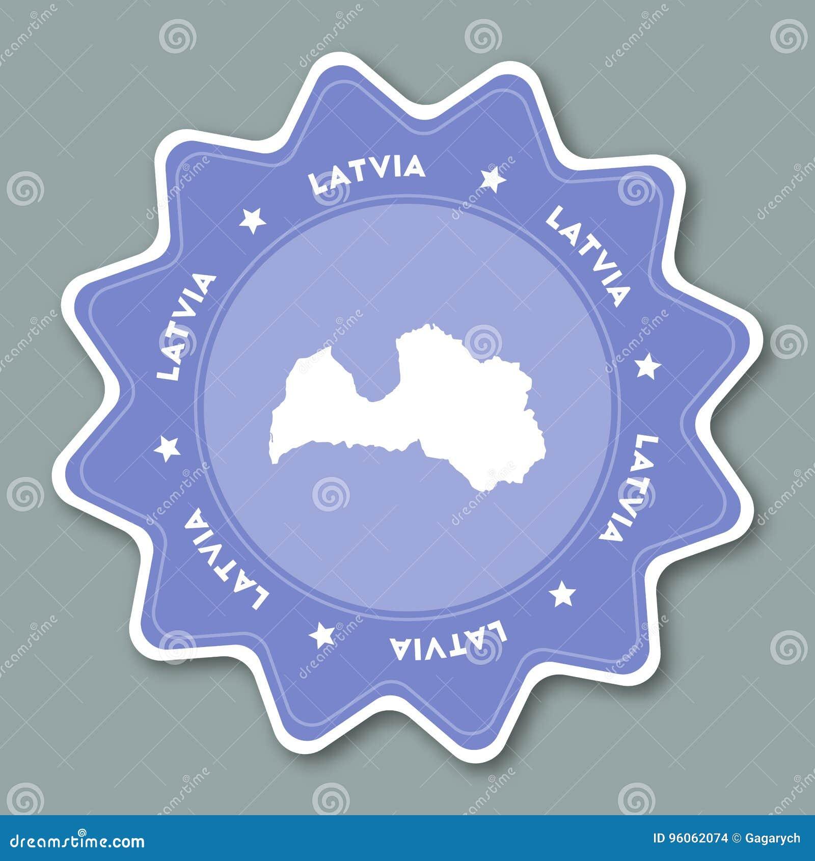 Autocollant de carte de la Lettonie dans des couleurs à la mode