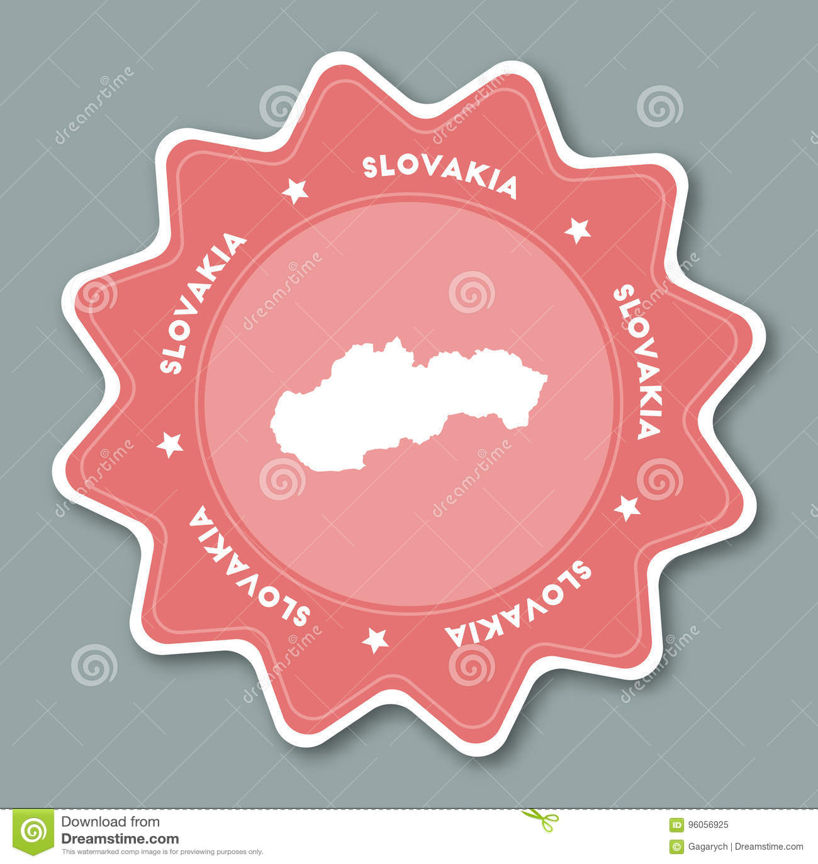 Autocollant de carte de la Slovaquie dans des couleurs à la mode