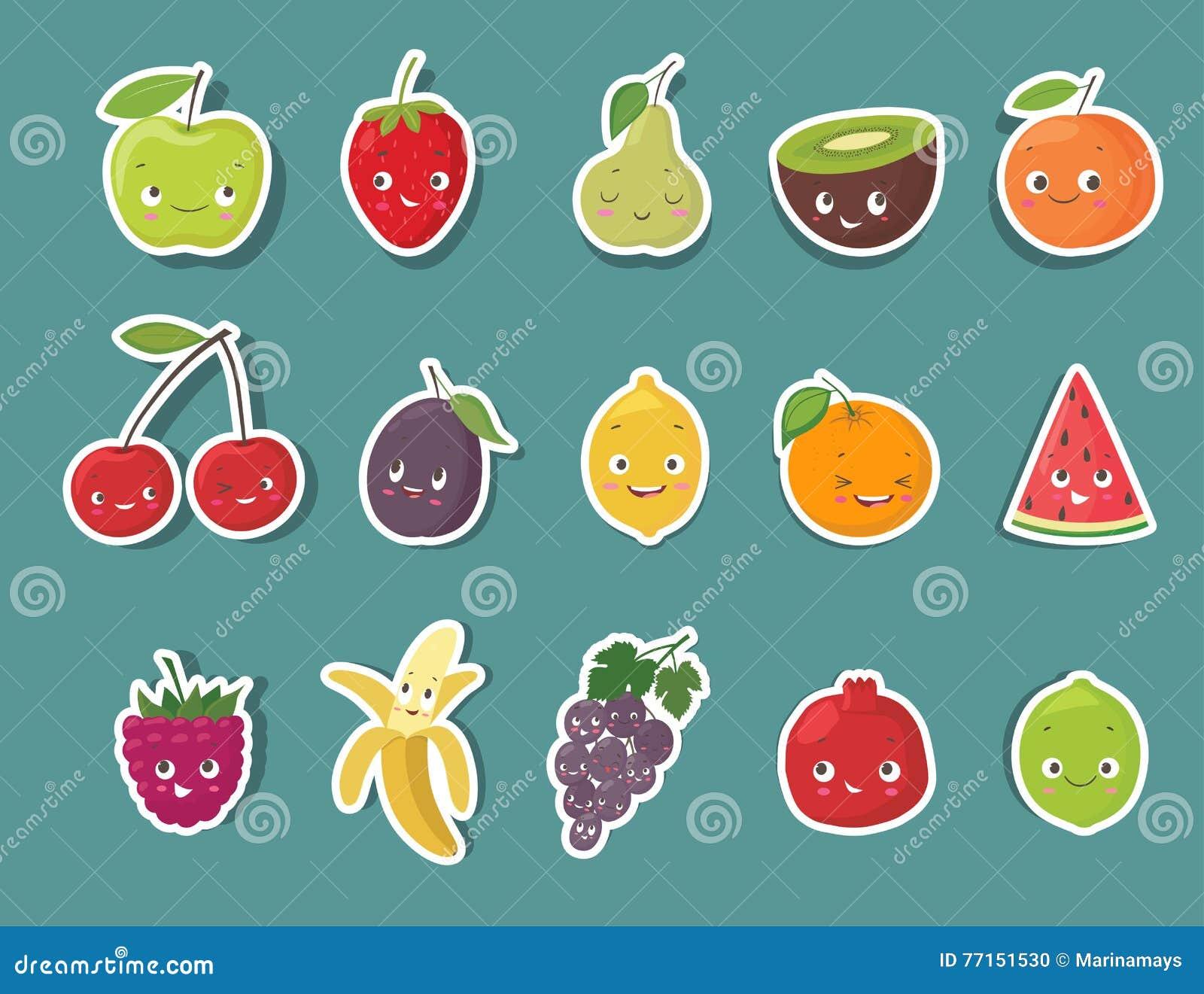 Autocollants drôles de caractère de fruit réglés Illustration de vecteur de dessin animé