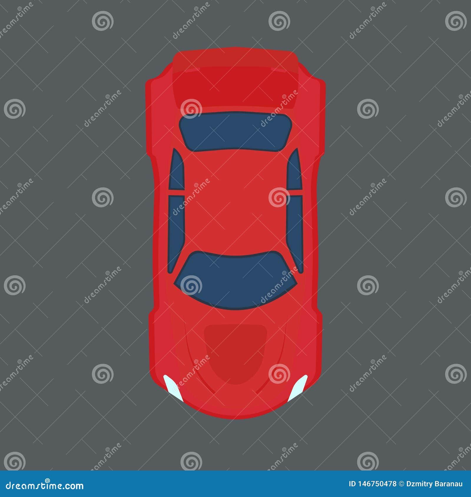 Autodachansicht-Vektorikone Selbstfahrzeug der roten Verkehrskarikatur oben Element der flachen Maschine des Geschwindigkeitsspor
