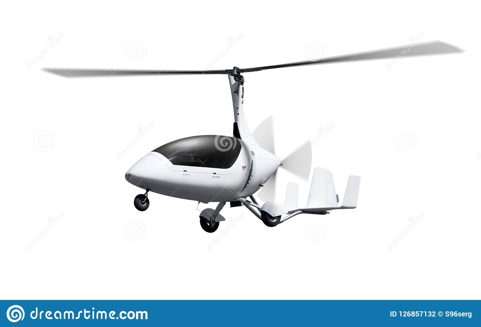 Autogyro In Flight With Rotating Propellers Stock Photo - Image of
