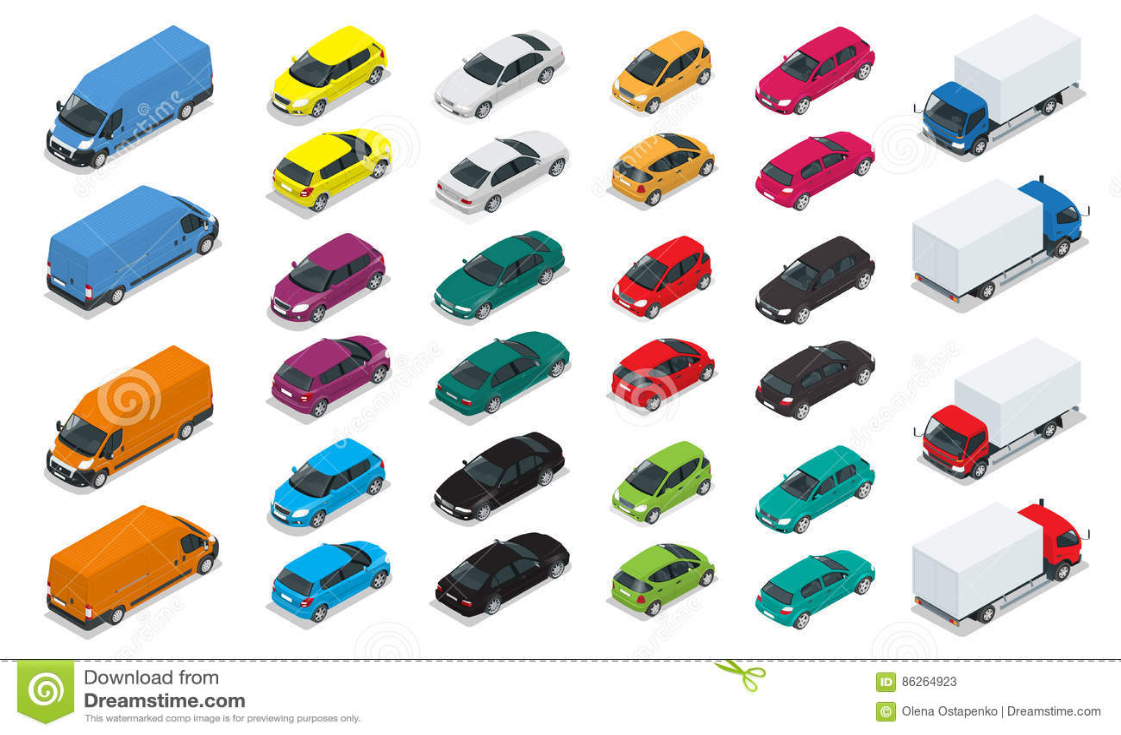 Autoikonen Flacher isometrischer Stadt-Transport der hohen Qualität 3d Limousine, Packwagen, Fracht-LKW, Hecktürmodell Satz städt