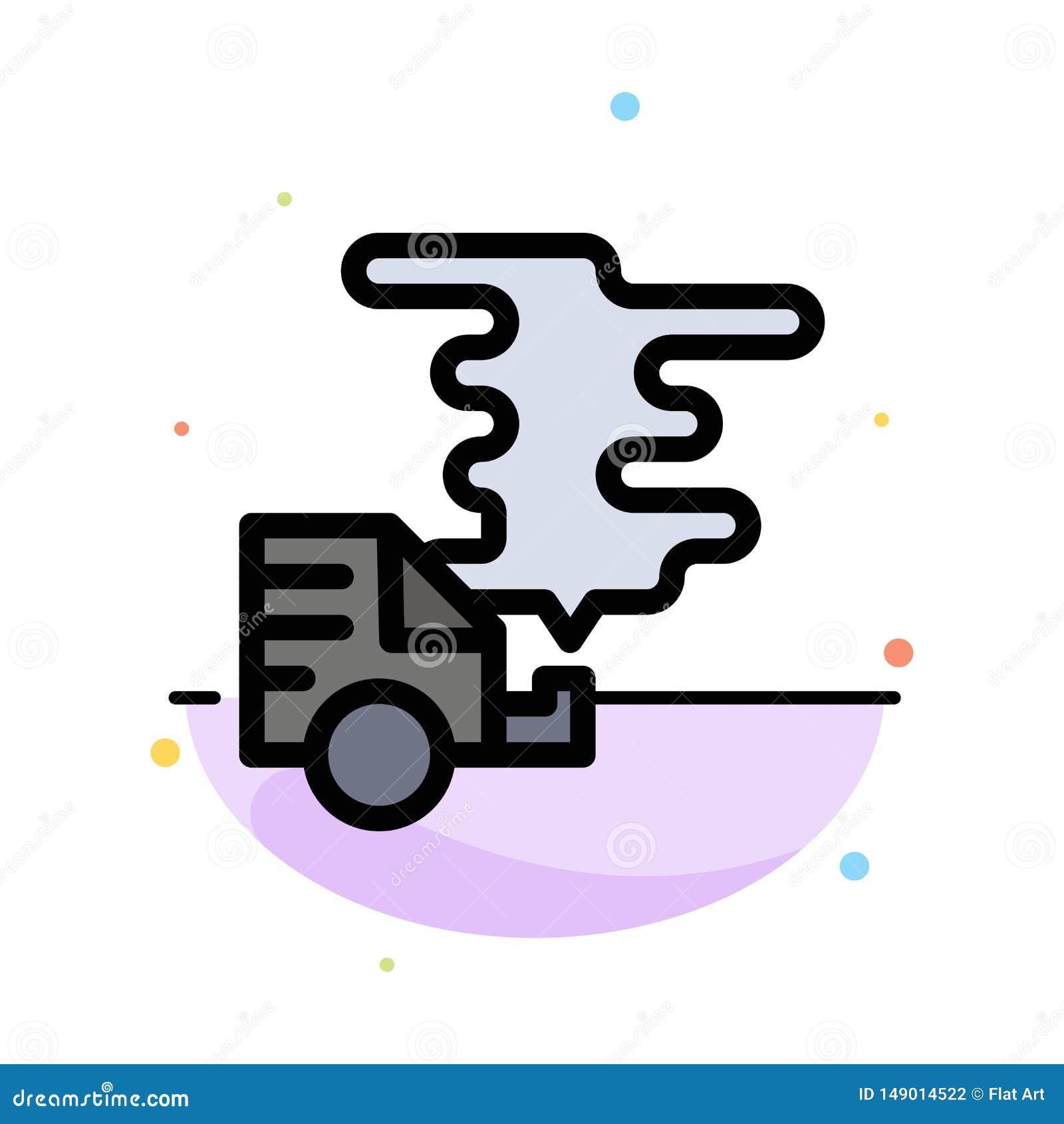 Automóvil, coche, emisión, gas, plantilla plana del icono del color del extracto de la contaminación