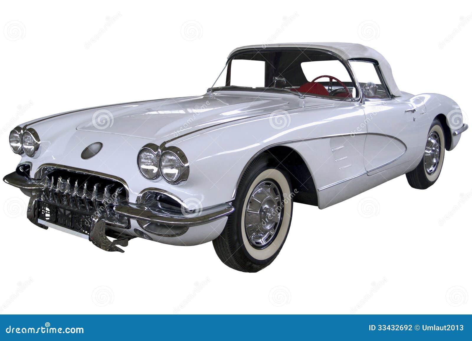Automóvil descubierto del blanco del vintage