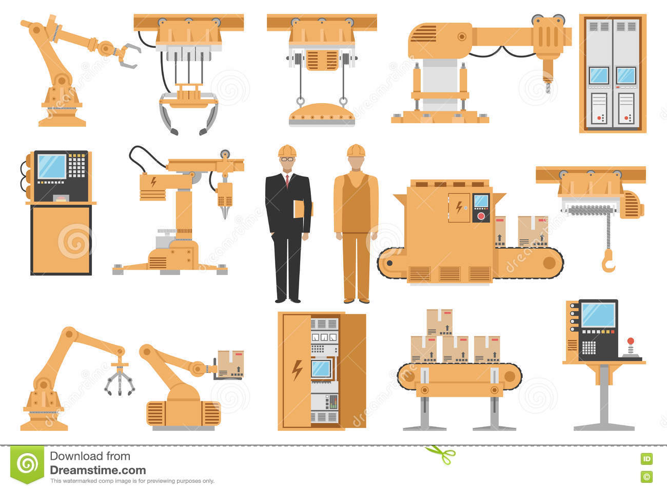 Assembly Icon: Industrial Assembly Line Flat Icons Set Vector
