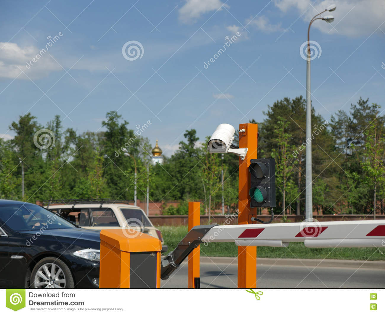 Automated Car Parking With CCTV. CCTV Camera License Plate. Stock ...