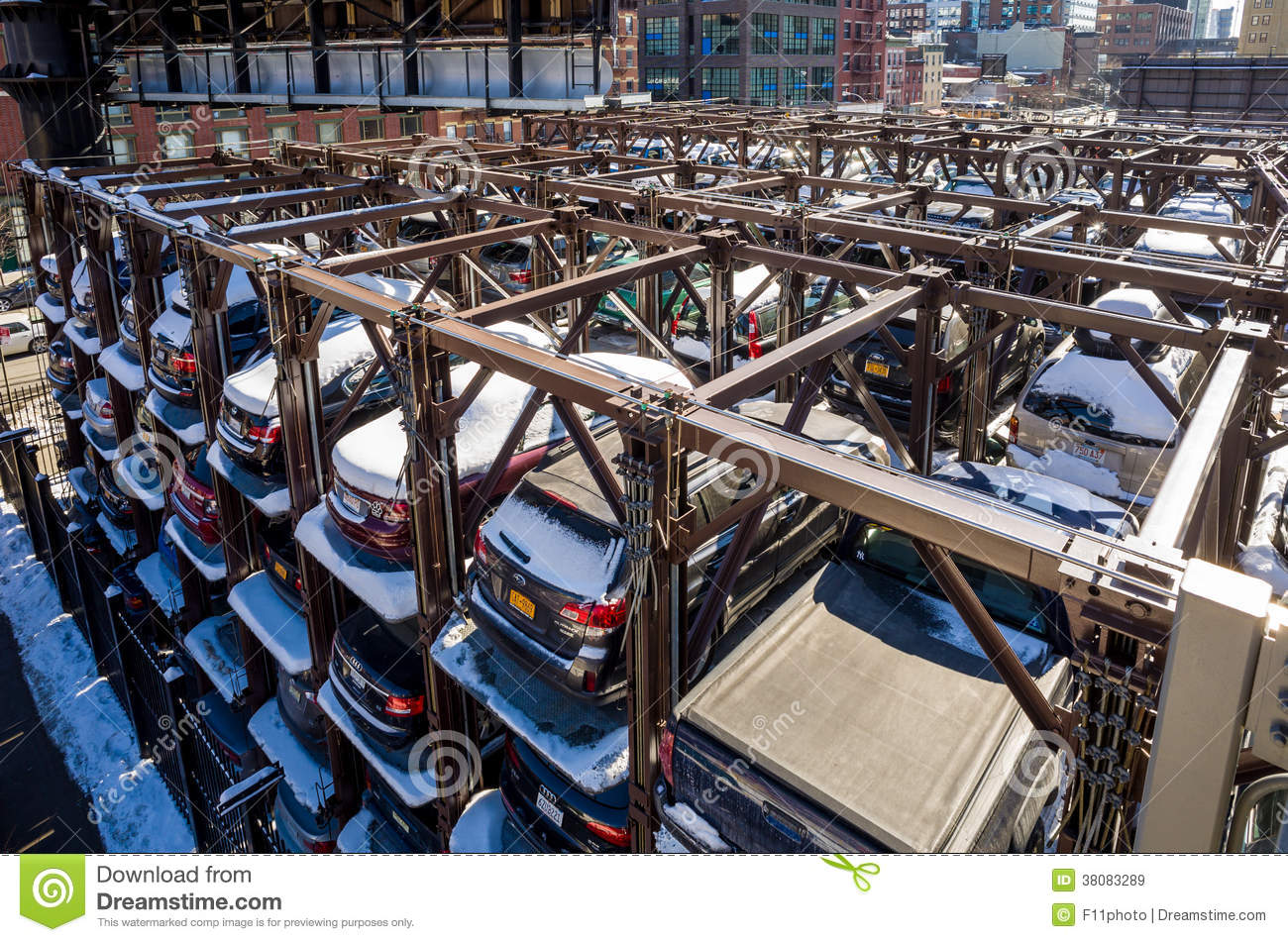 An automated car parking system new york editorial stock for Ny city parking garages