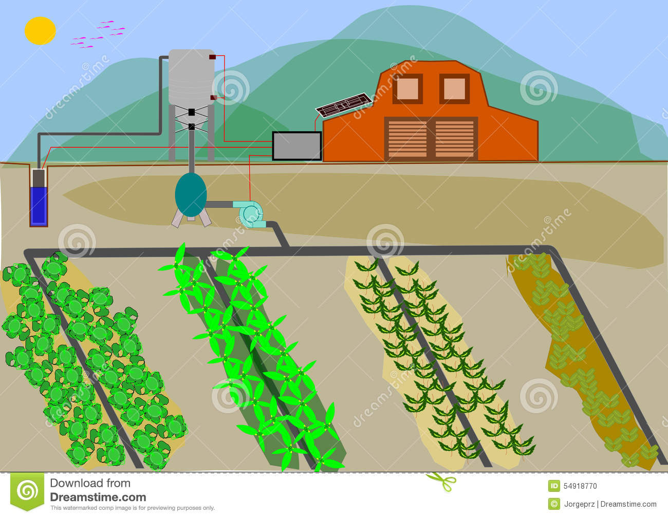 Automated Irrigation System Stock Illustration