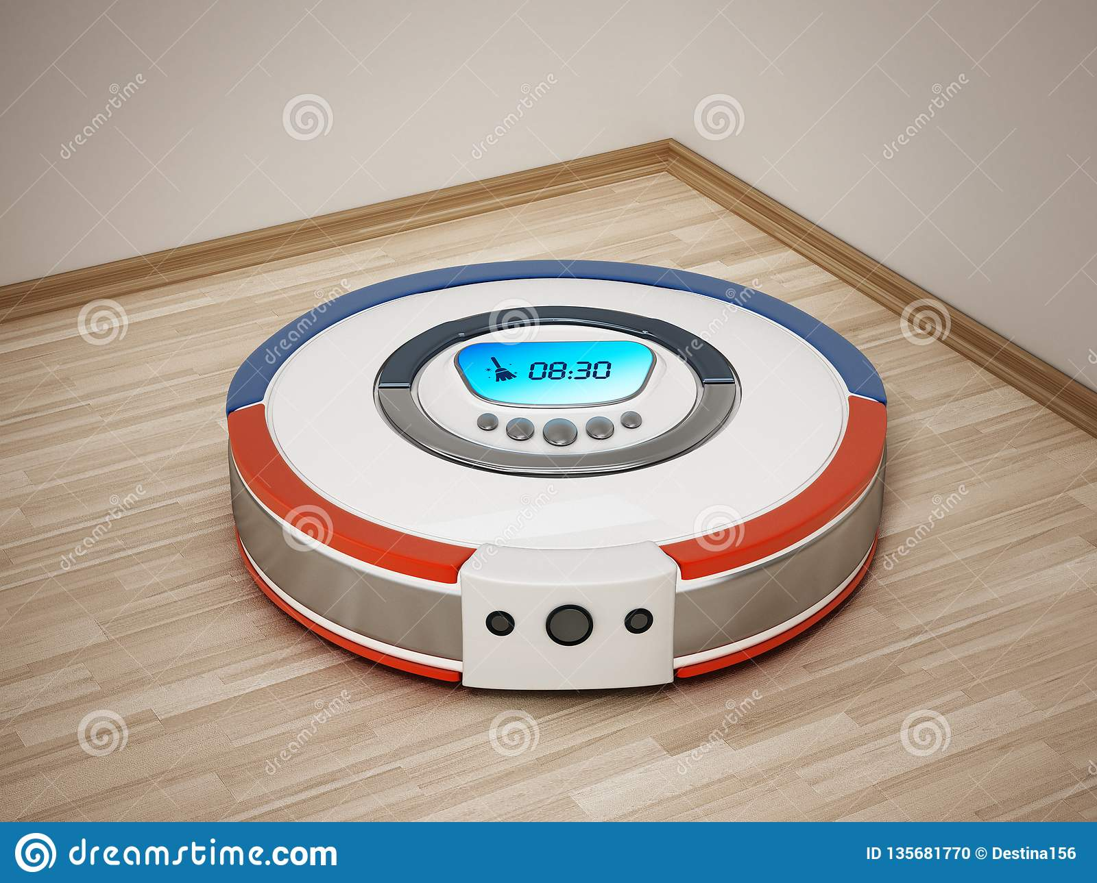 Automated vacuum cleaner on wooden floor. 3D illustration