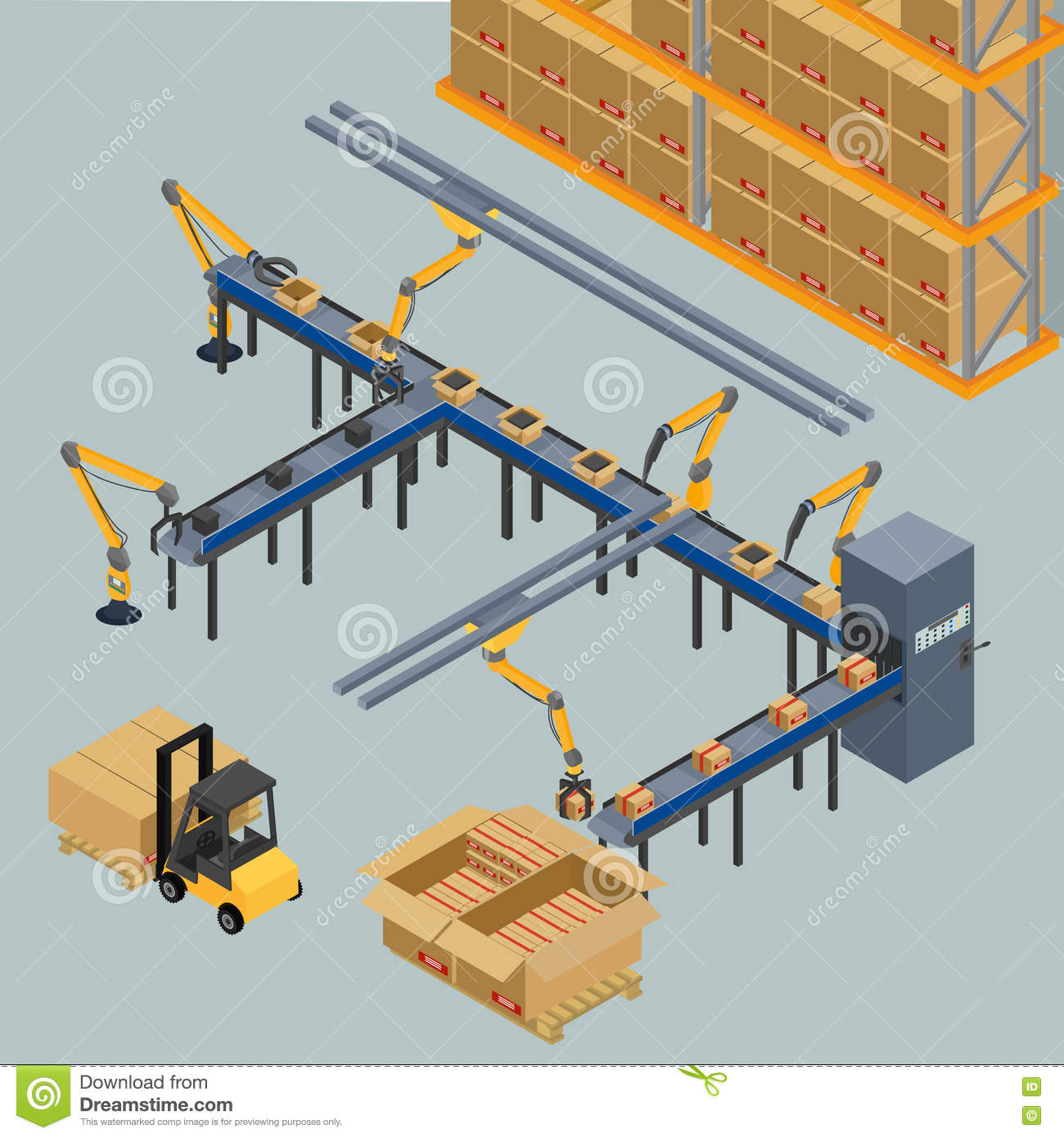 Automatic belt conveyor, stock vector. Image of design ...