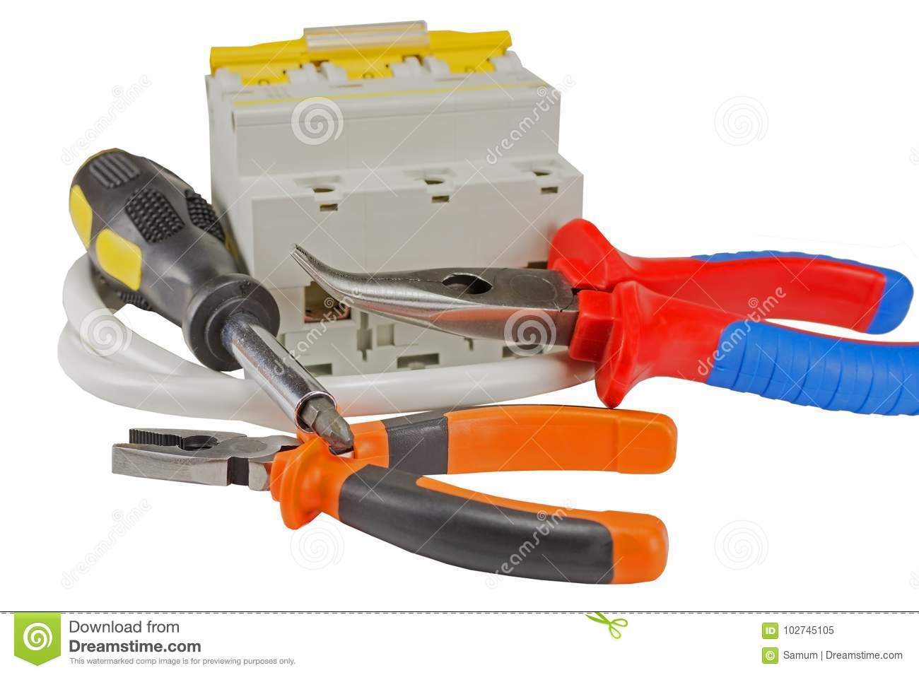 automatic circuit breaker and tools isolated on white stock image rh dreamstime com