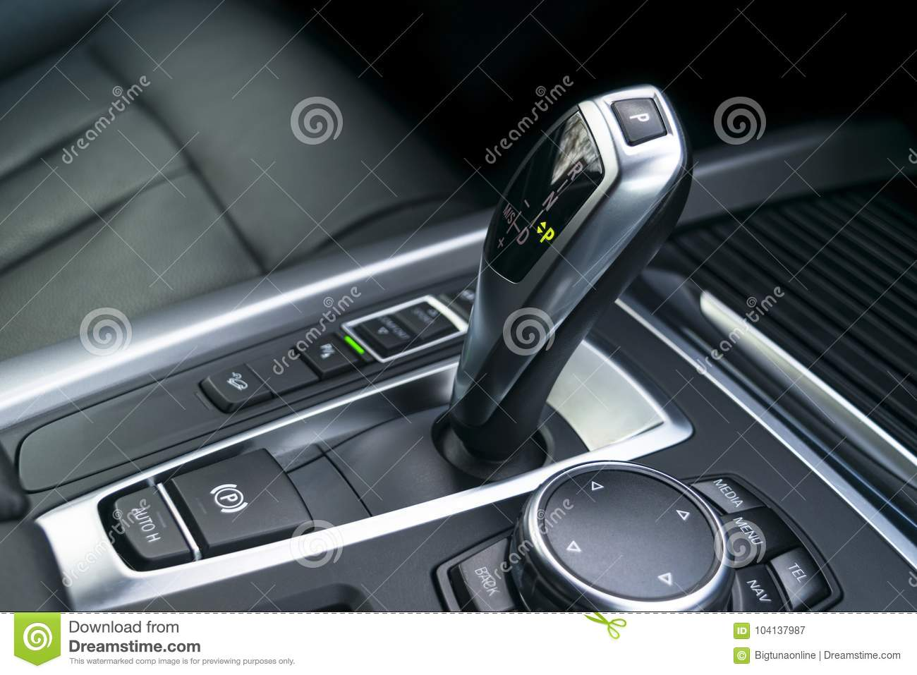 Automatic Gear Stick Transmission Of A Modern Car, Multimedia And