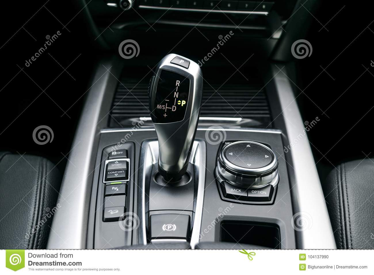 Automatic Gear Stick Transmission Of A Modern Car