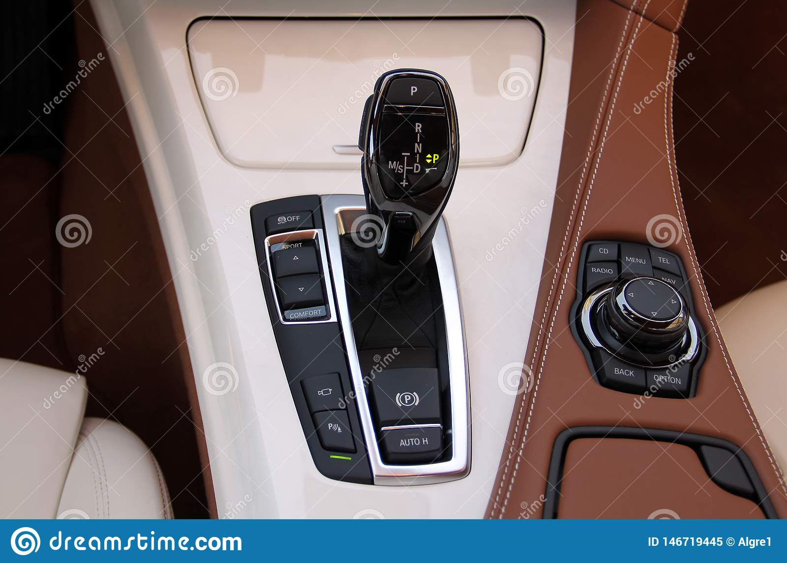Automatic gear shift, and car panel buttons