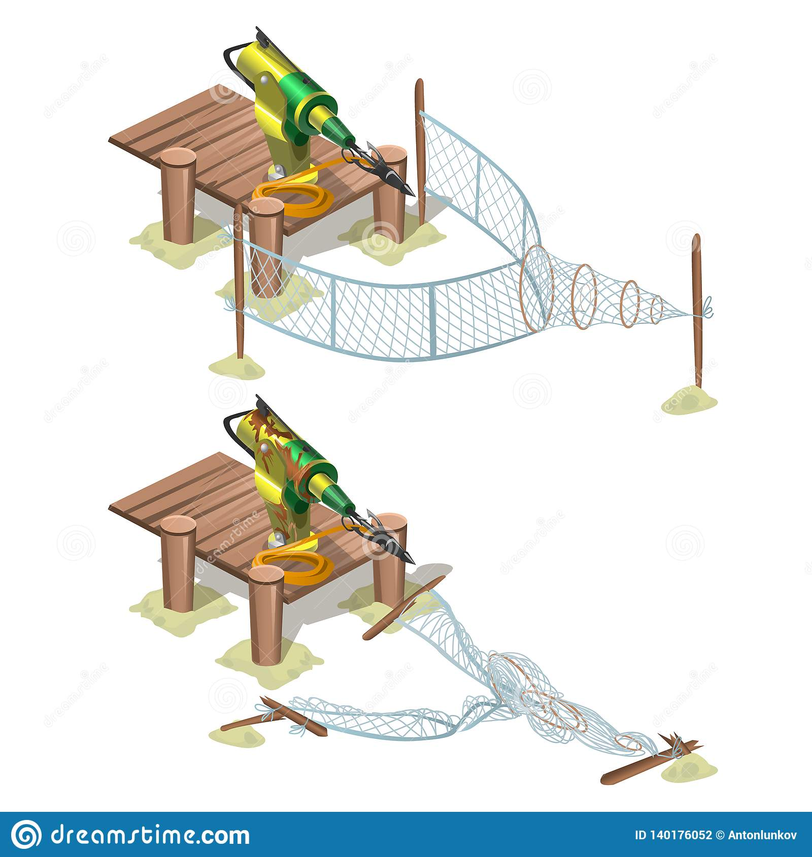 Automatic Trap With A Harpoon Isolated On White Background Vector