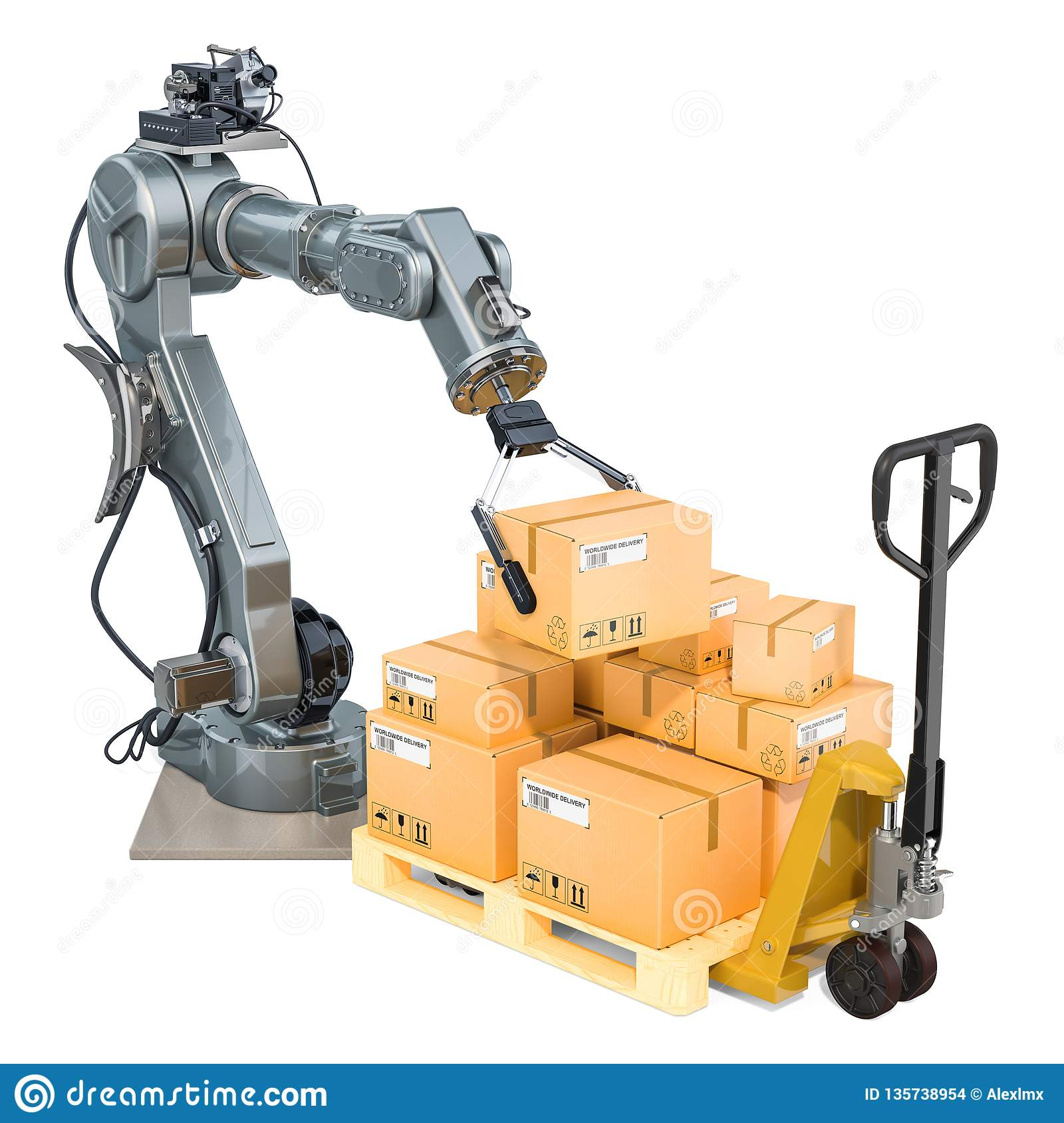 Automatic Warehouse Concept  Robotic Arm Put Cardboard Boxes On